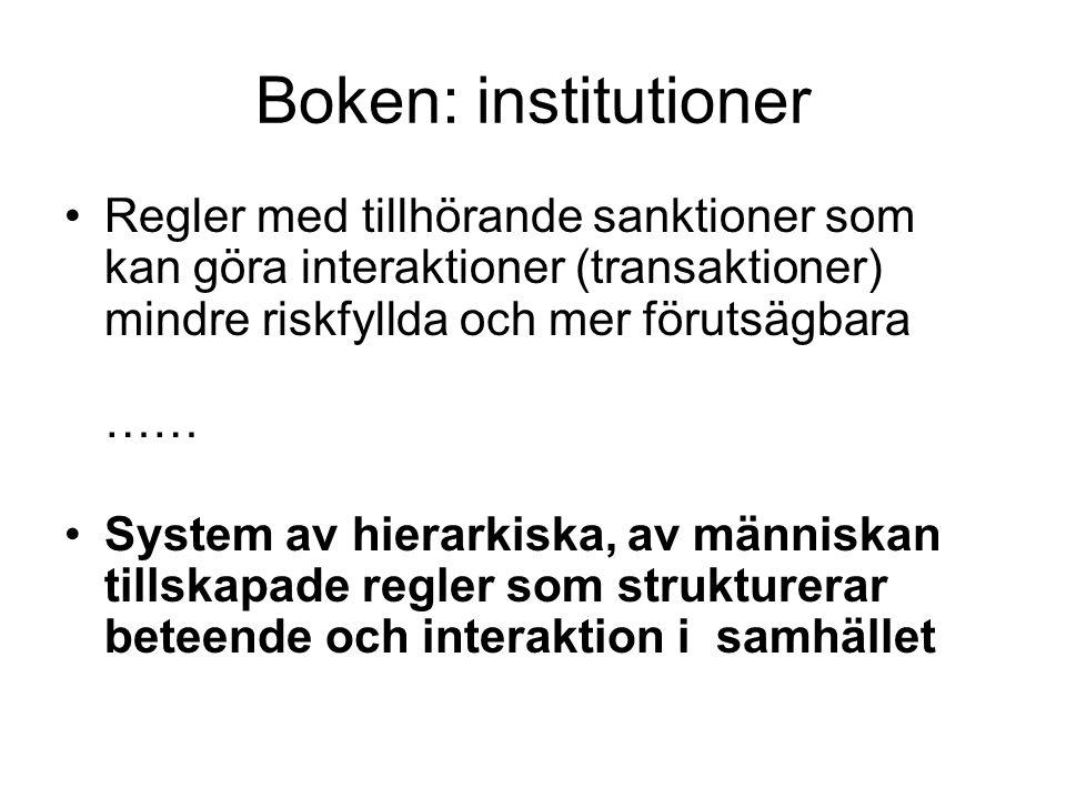 Boken: institutioner Regler med tillhörande sanktioner som kan göra interaktioner (transaktioner) mindre riskfyllda och mer förutsägbara …… System av