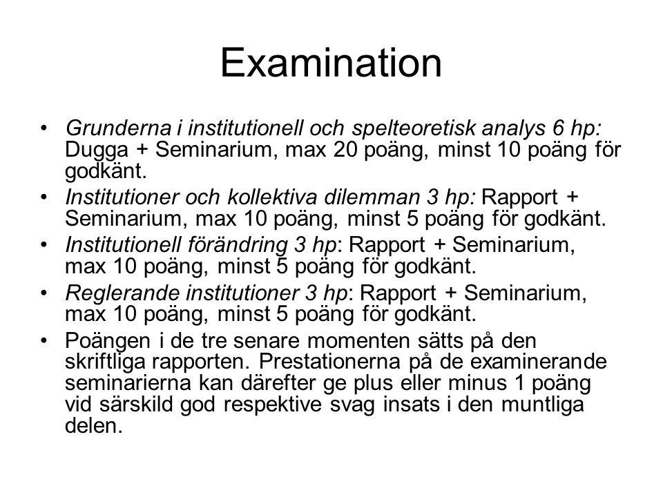 Examination Grunderna i institutionell och spelteoretisk analys 6 hp: Dugga + Seminarium, max 20 poäng, minst 10 poäng för godkänt. Institutioner och