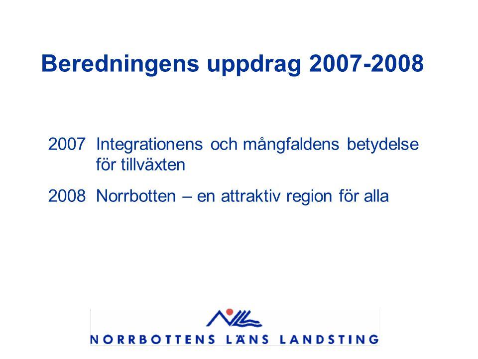 Beredningens uppdrag 2007-2008 2007 Integrationens och mångfaldens betydelse för tillväxten 2008 Norrbotten – en attraktiv region för alla