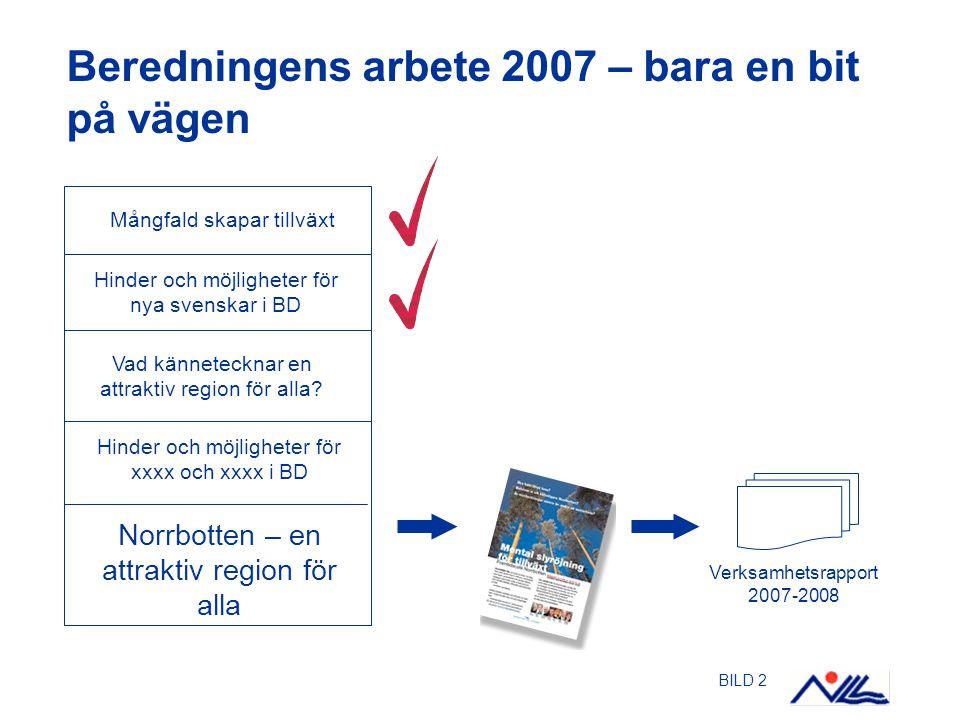 BILD 2 Beredningens arbete 2007 – bara en bit på vägen Mångfald skapar tillväxt Hinder och möjligheter för nya svenskar i BD Hinder och möjligheter fö