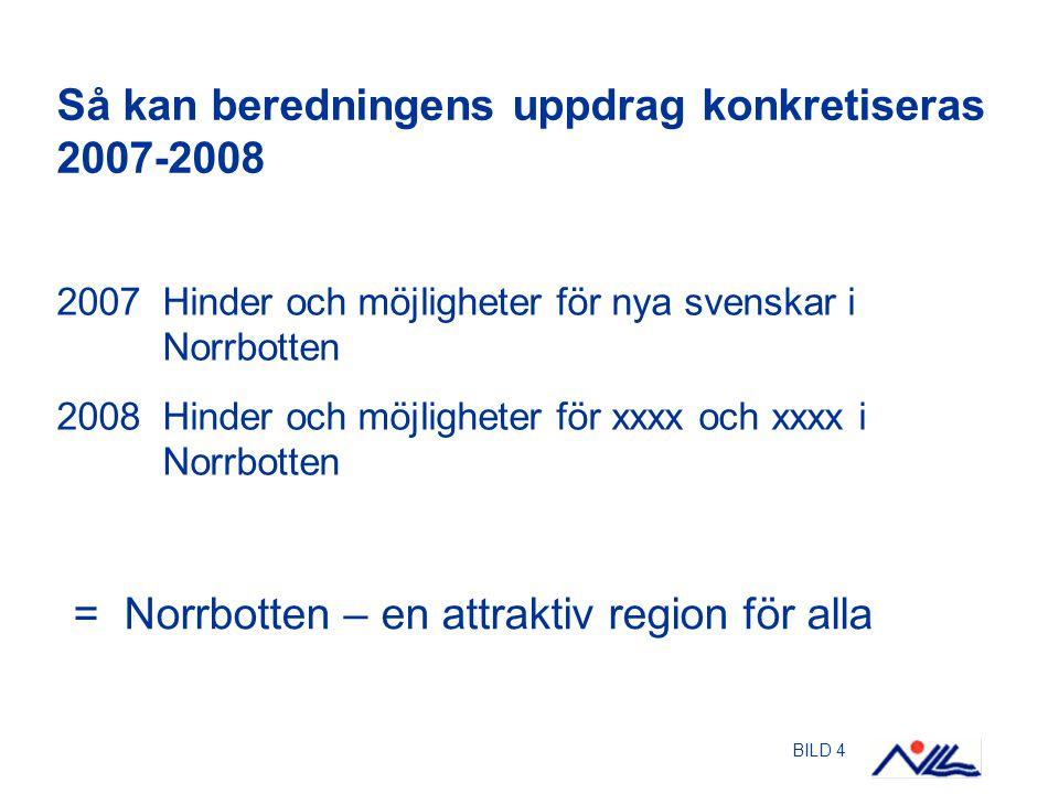 BILD 4 Så kan beredningens uppdrag konkretiseras 2007-2008 2007 Hinder och möjligheter för nya svenskar i Norrbotten 2008 Hinder och möjligheter för x