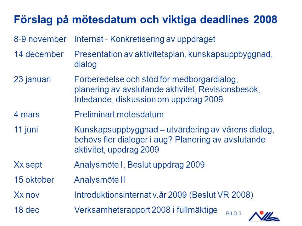 BILD 5 Förslag på mötesdatum och viktiga deadlines 2008 8-9 novemberInternat - Konkretisering av uppdraget 14 decemberPresentation av aktivitetsplan,