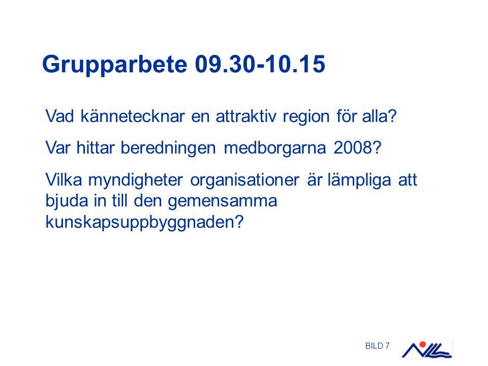 BILD 7 Grupparbete 09.30-10.15 Vad kännetecknar en attraktiv region för alla? Var hittar beredningen medborgarna 2008? Vilka myndigheter organisatione