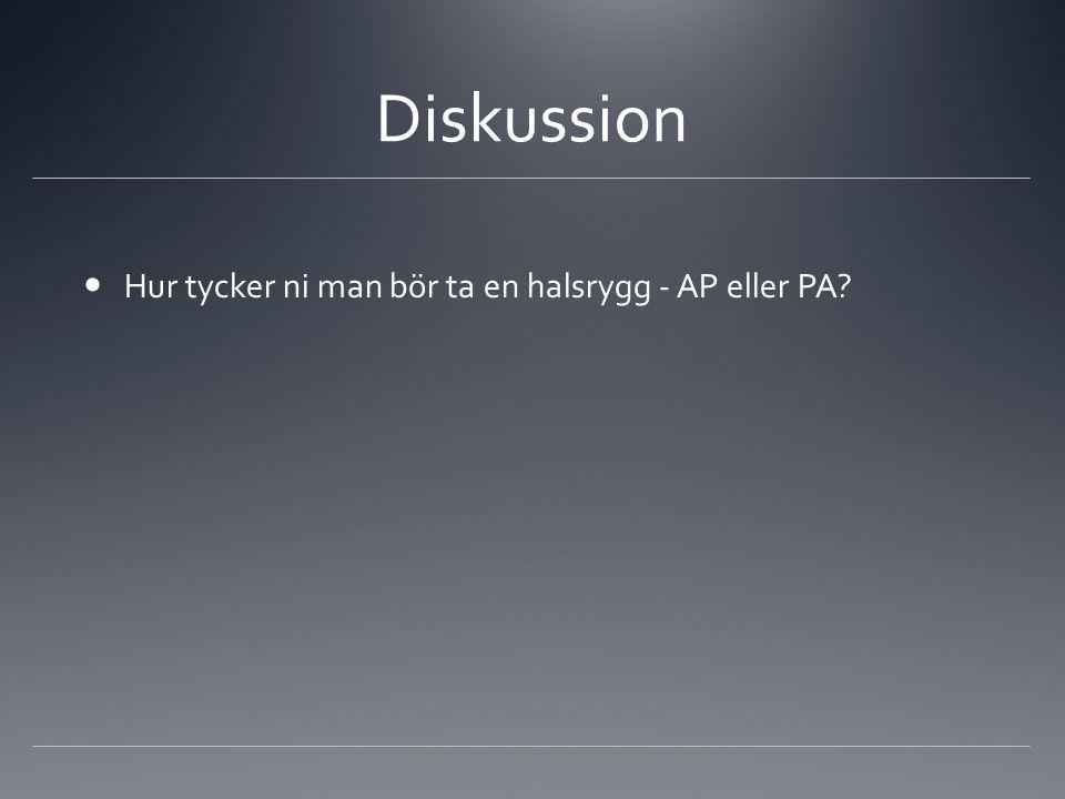 Diskussion Hur tycker ni man bör ta en halsrygg - AP eller PA?