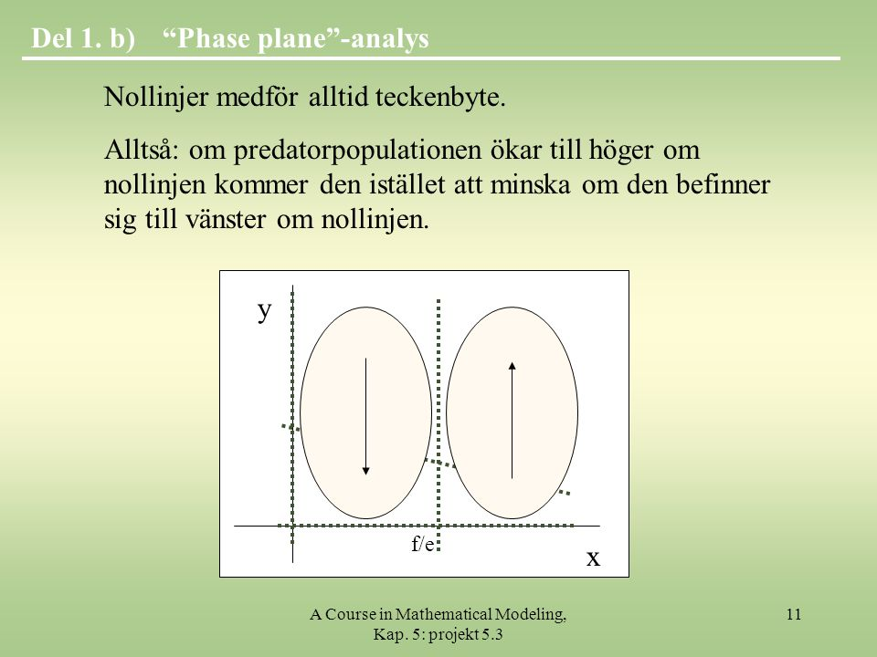 A Course in Mathematical Modeling, Kap.5: projekt 5.3 11 Phase plane -analysDel 1.