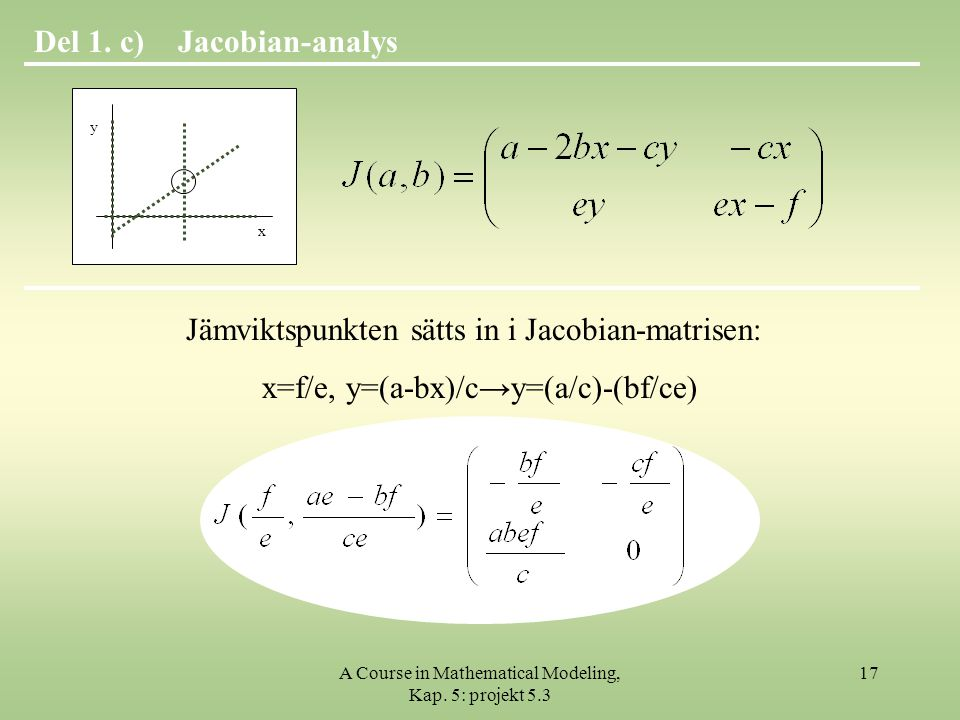 A Course in Mathematical Modeling, Kap.5: projekt 5.3 17 Jacobian-analysDel 1.