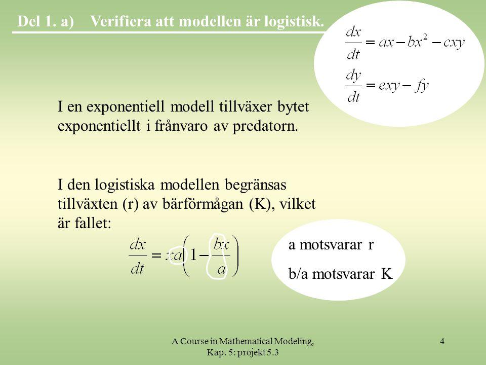 A Course in Mathematical Modeling, Kap.5: projekt 5.3 35 Verifiera numeriskt!Del 2.