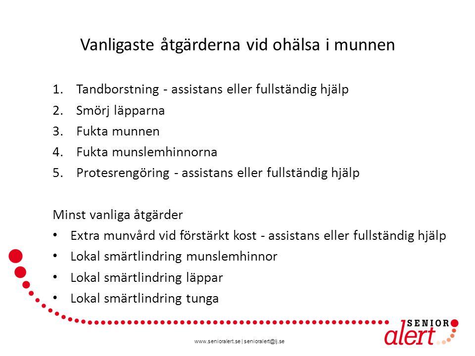 www.senioralert.se | senioralert@lj.se Vanligaste åtgärderna vid ohälsa i munnen 1.Tandborstning - assistans eller fullständig hjälp 2.Smörj läpparna