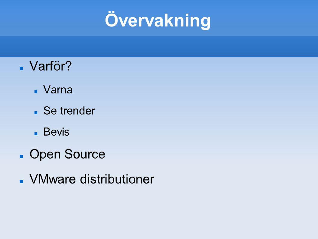 Övervakning Varför? Varna Se trender Bevis Open Source VMware distributioner