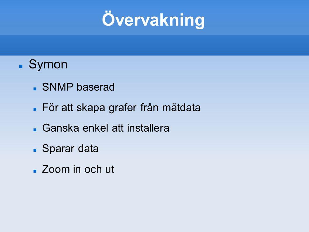 Övervakning Symon SNMP baserad För att skapa grafer från mätdata Ganska enkel att installera Sparar data Zoom in och ut