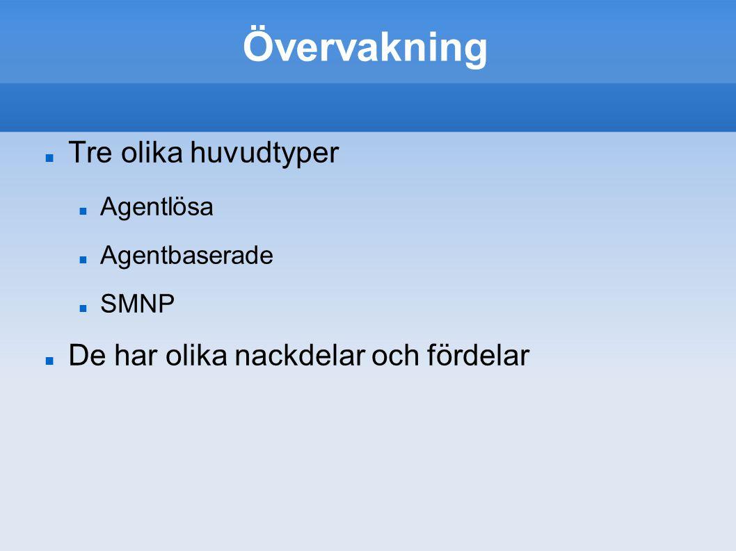 Övervakning Tre olika huvudtyper Agentlösa Agentbaserade SMNP De har olika nackdelar och fördelar