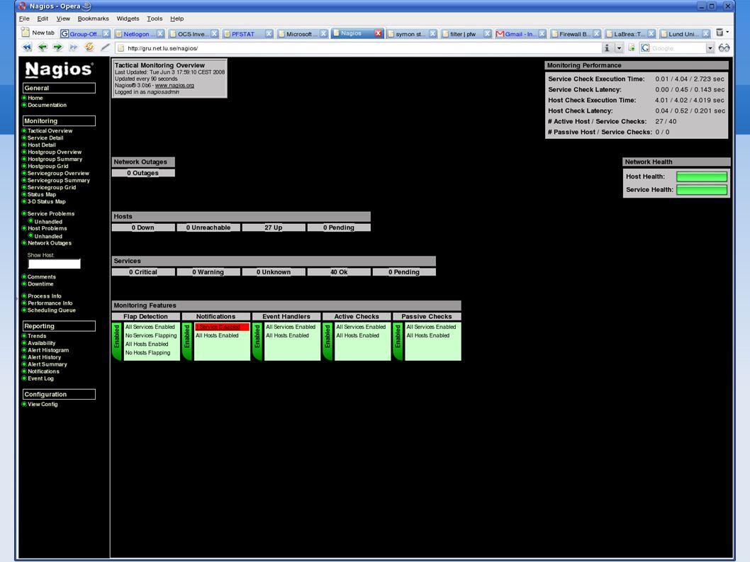 Övervakning Zenoss SMNP övervakning Huvudsakligen kontroll av datorns arbete Lite knepig konfigurering Kan vara svårtolkad Kan övervaka allt i datorn