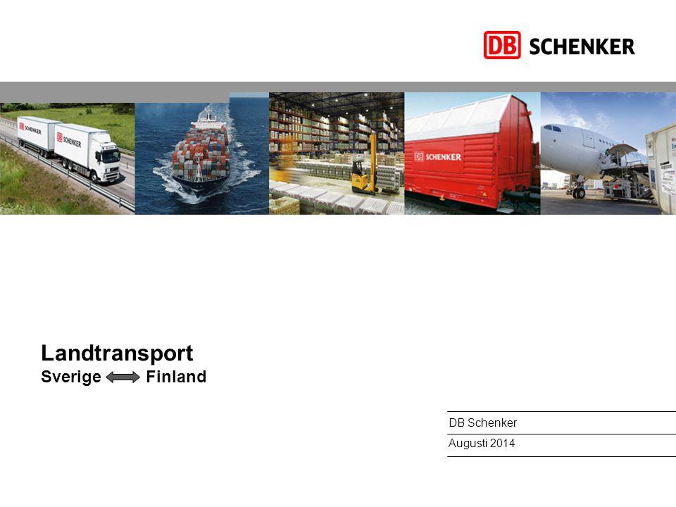 Landtransport Sverige Finland DB Schenker Augusti 2014