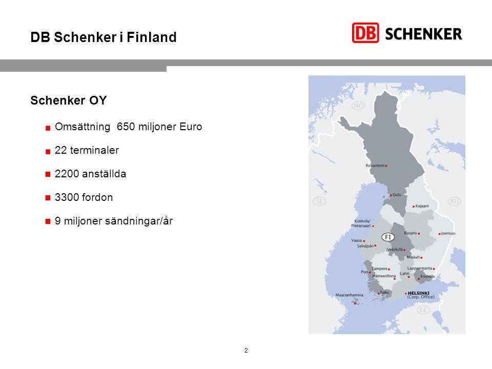 DB Schenker i Finland Schenker OY Omsättning 650 miljoner Euro 22 terminaler 2200 anställda 3300 fordon 9 miljoner sändningar/år 2