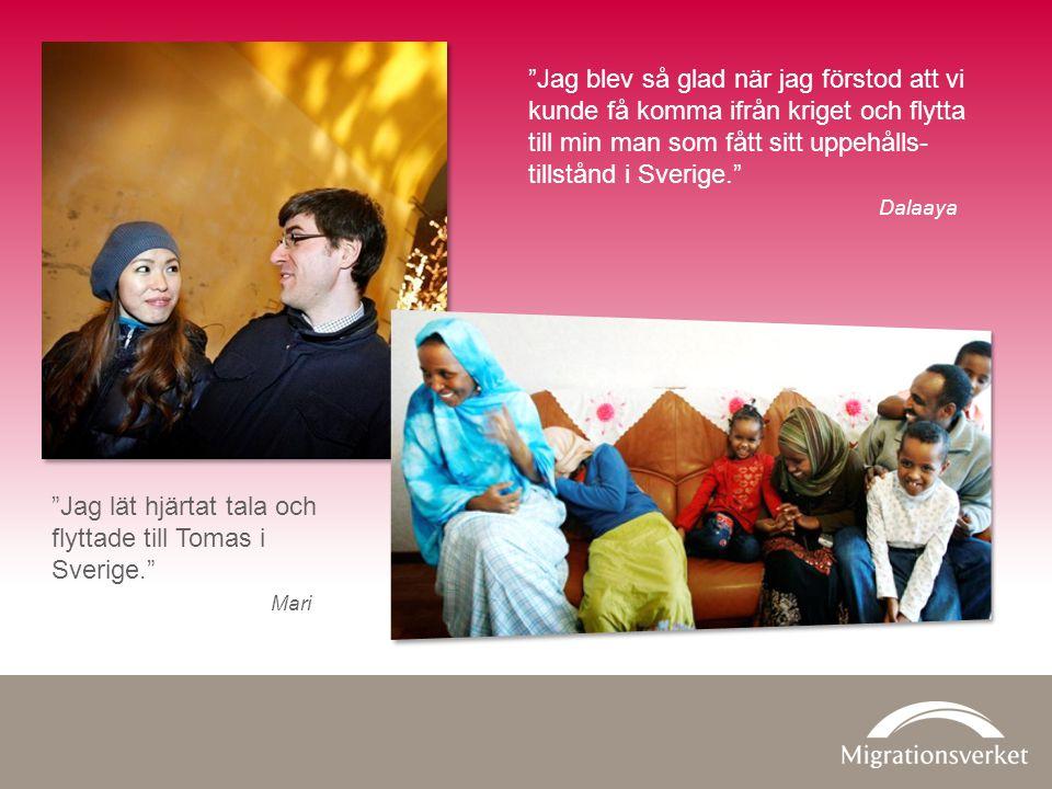 Jag blev så glad när jag förstod att vi kunde få komma ifrån kriget och flytta till min man som fått sitt uppehålls- tillstånd i Sverige. Dalaaya Jag lät hjärtat tala och flyttade till Tomas i Sverige. Mari