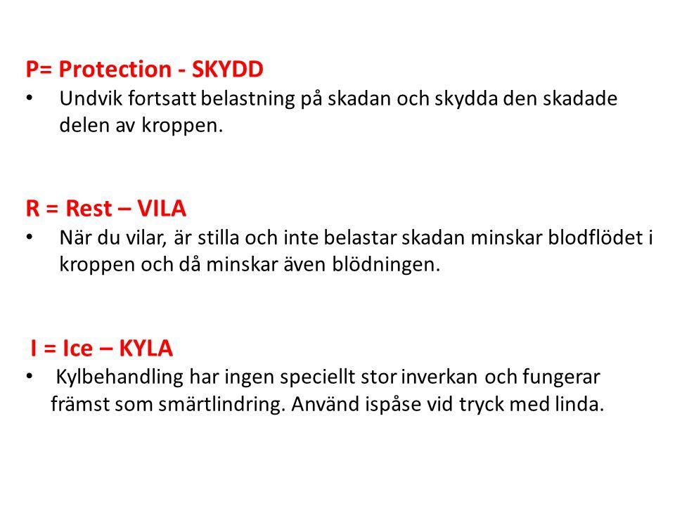 P= Protection - SKYDD Undvik fortsatt belastning på skadan och skydda den skadade delen av kroppen. R = Rest – VILA När du vilar, är stilla och inte b