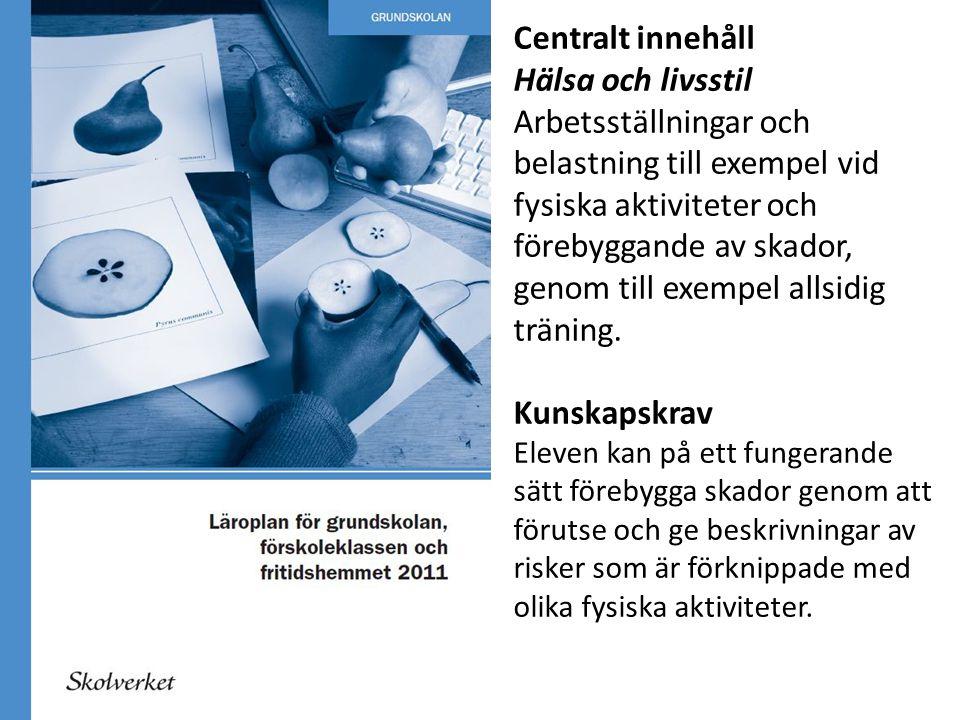 Centralt innehåll Hälsa och livsstil Arbetsställningar och belastning till exempel vid fysiska aktiviteter och förebyggande av skador, genom till exem
