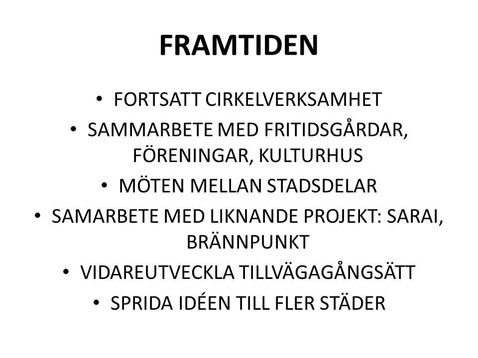 FRAMTIDEN FORTSATT CIRKELVERKSAMHET SAMMARBETE MED FRITIDSGÅRDAR, FÖRENINGAR, KULTURHUS MÖTEN MELLAN STADSDELAR SAMARBETE MED LIKNANDE PROJEKT: SARAI, BRÄNNPUNKT VIDAREUTVECKLA TILLVÄGAGÅNGSÄTT SPRIDA IDÉEN TILL FLER STÄDER