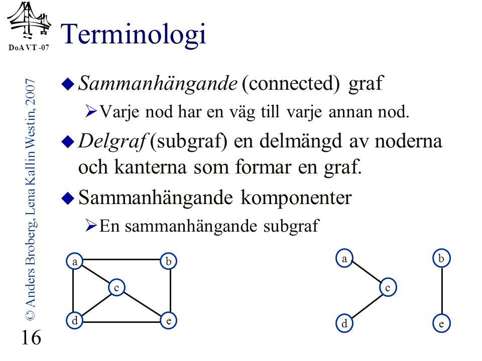 DoA VT -07 © Anders Broberg, Lena Kallin Westin, 2007 16 Terminologi  Sammanhängande (connected) graf  Varje nod har en väg till varje annan nod.