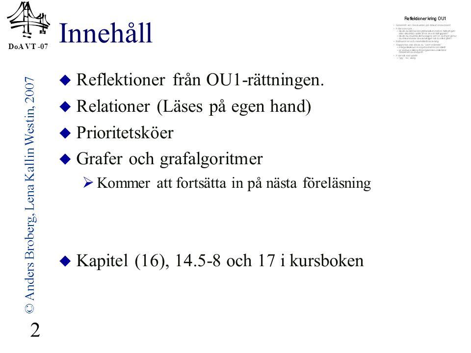 DoA VT -07 © Anders Broberg, Lena Kallin Westin, 2007 33 ABC EFG IJK 0 1 11 Om alla bågar har vikt 1 2 2 3 3 4 A B C E F G I J K