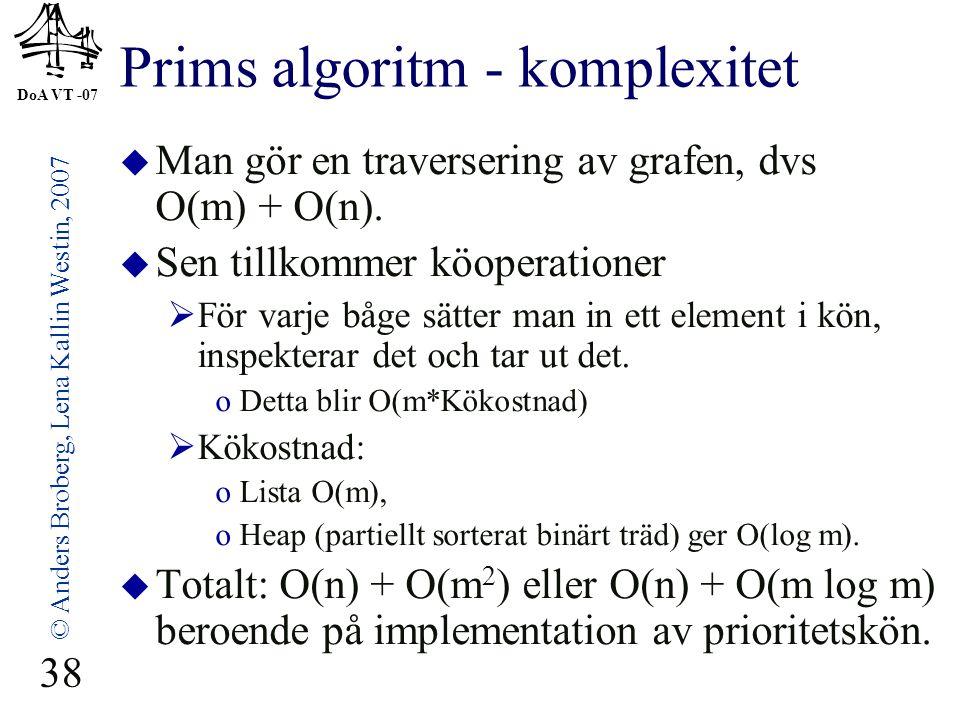 DoA VT -07 © Anders Broberg, Lena Kallin Westin, 2007 38 Prims algoritm - komplexitet  Man gör en traversering av grafen, dvs O(m) + O(n).