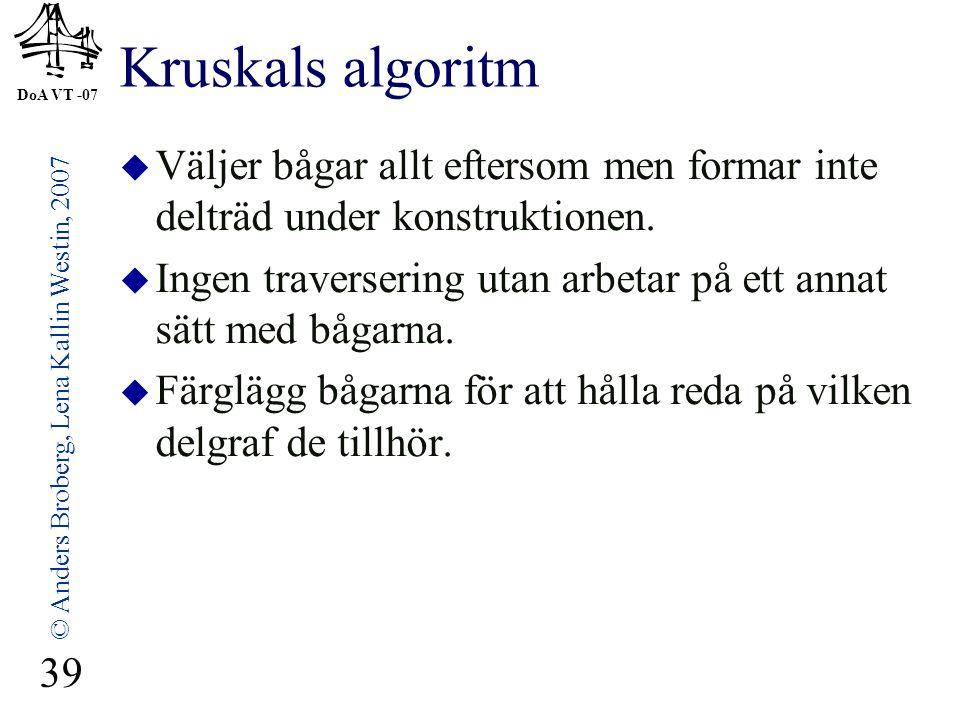 DoA VT -07 © Anders Broberg, Lena Kallin Westin, 2007 39 Kruskals algoritm  Väljer bågar allt eftersom men formar inte delträd under konstruktionen.