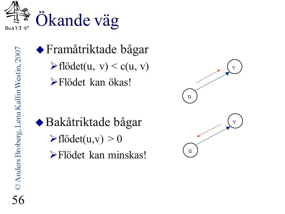 DoA VT -07 © Anders Broberg, Lena Kallin Westin, 2007 56 Ökande väg  Framåtriktade bågar  flödet(u, v) < c(u, v)  Flödet kan ökas!  Bakåtriktade b