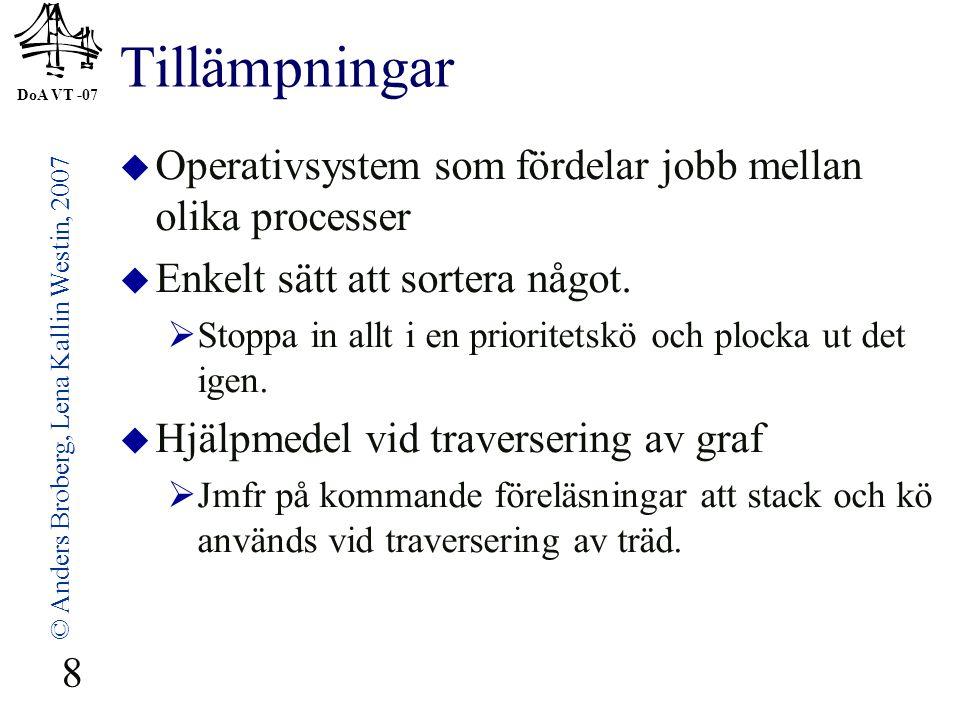 DoA VT -07 © Anders Broberg, Lena Kallin Westin, 2007 8 Tillämpningar  Operativsystem som fördelar jobb mellan olika processer  Enkelt sätt att sortera något.