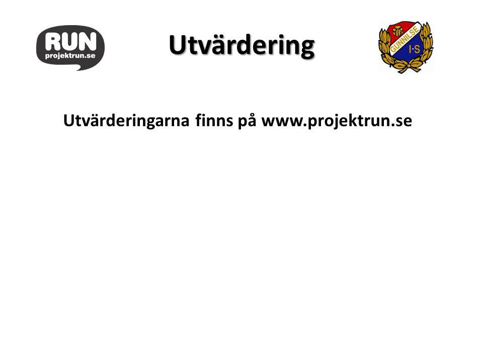 Utvärdering Utvärderingarna finns på www.projektrun.se