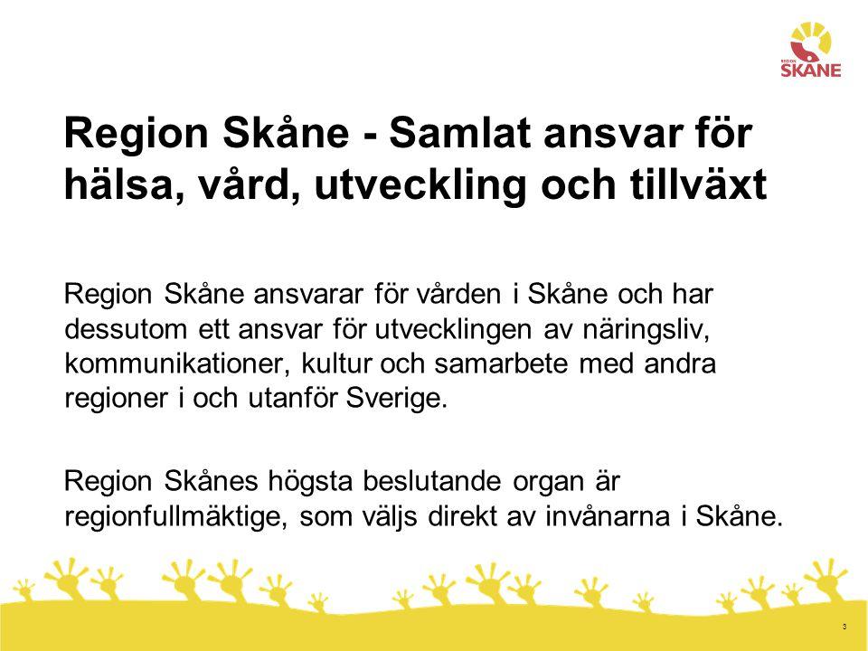 3 Region Skåne - Samlat ansvar för hälsa, vård, utveckling och tillväxt Region Skåne ansvarar för vården i Skåne och har dessutom ett ansvar för utvecklingen av näringsliv, kommunikationer, kultur och samarbete med andra regioner i och utanför Sverige.