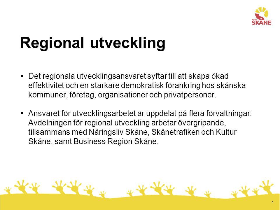 6 Regional utveckling  Det regionala utvecklingsansvaret syftar till att skapa ökad effektivitet och en starkare demokratisk förankring hos skånska kommuner, företag, organisationer och privatpersoner.