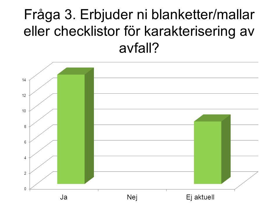 Fråga 3. Erbjuder ni blanketter/mallar eller checklistor för karakterisering av avfall?