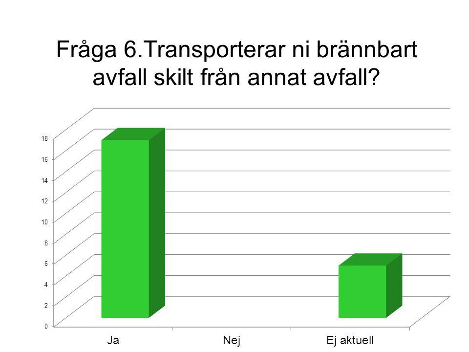 Fråga 6.Transporterar ni brännbart avfall skilt från annat avfall?