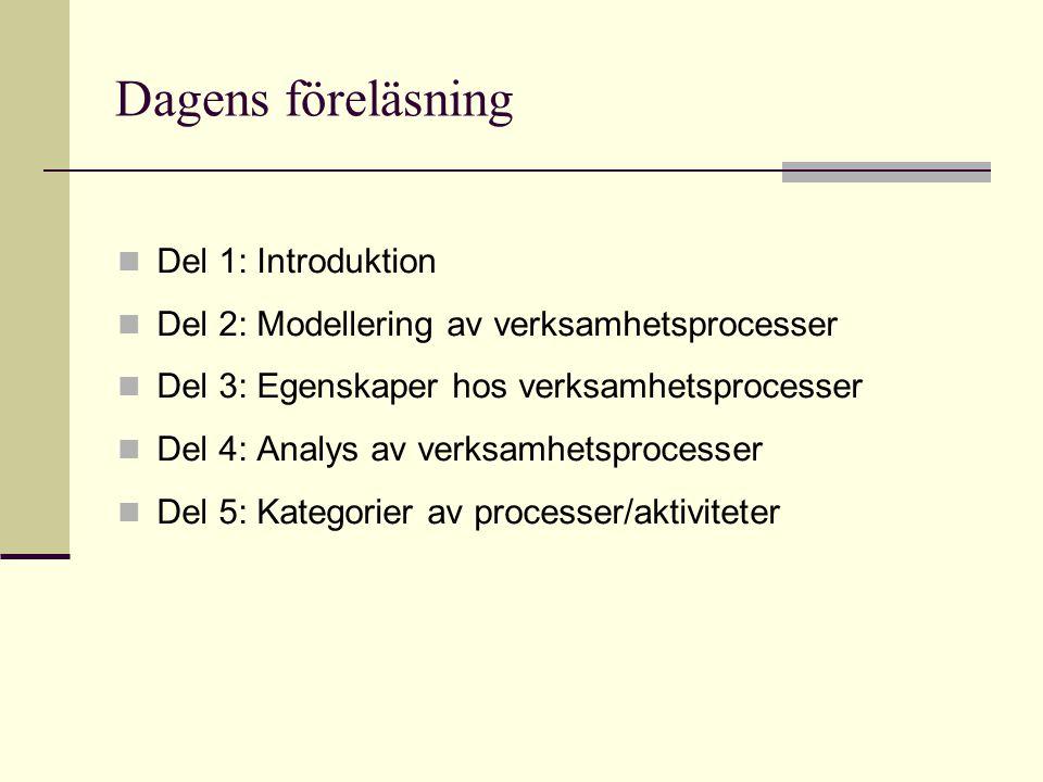 Dagens föreläsning Del 1: Introduktion Del 2: Modellering av verksamhetsprocesser Del 3: Egenskaper hos verksamhetsprocesser Del 4: Analys av verksamh