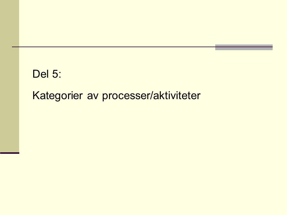 Del 5: Kategorier av processer/aktiviteter