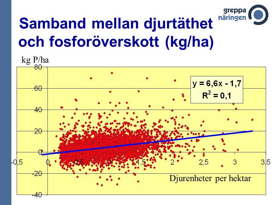 Samband mellan djurtäthet och fosforöverskott (kg/ha) kg P/ha Djurenheter per hektar