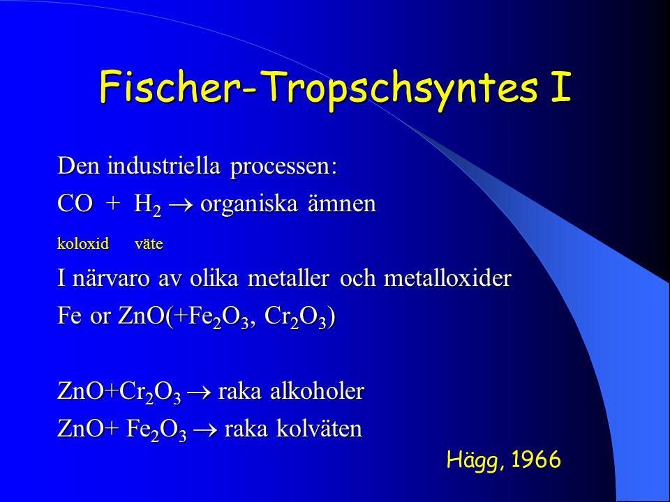 Fischer-Tropschsyntes I Den industriella processen: CO + H 2  organiska ämnen koloxid väte I närvaro av olika metaller och metalloxider Fe or ZnO(+Fe 2 O 3, Cr 2 O 3 ) ZnO+Cr 2 O 3  raka alkoholer ZnO+ Fe 2 O 3  raka kolväten Hägg, 1966