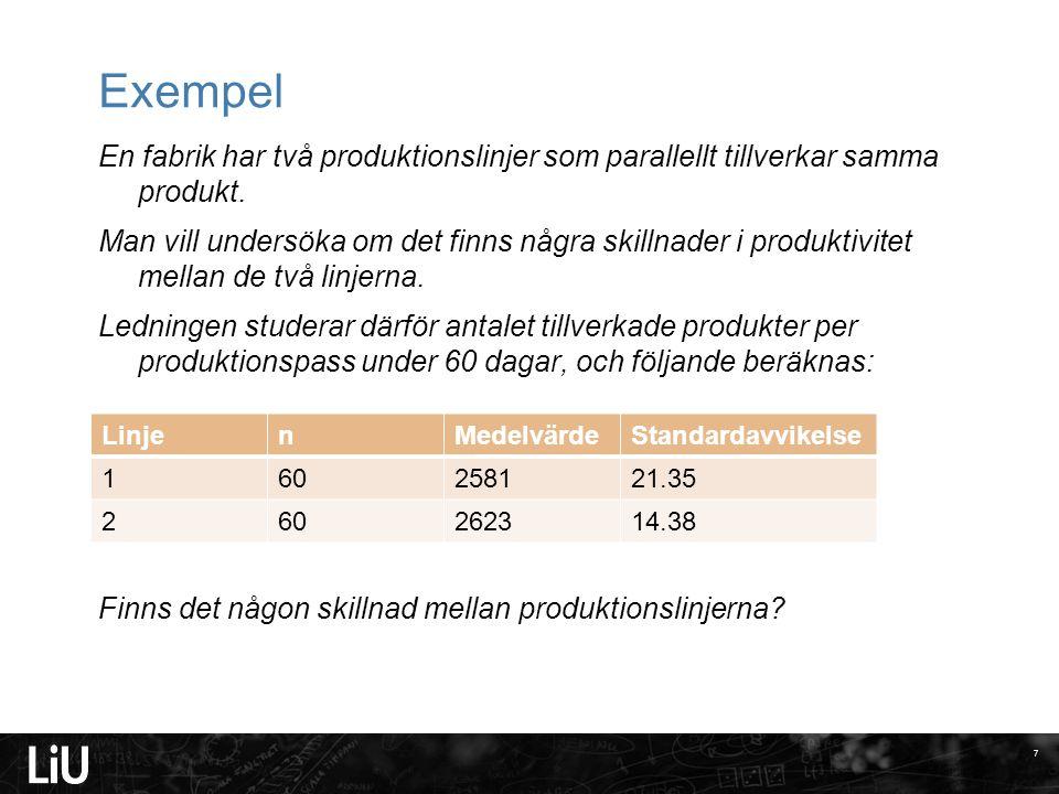 Exempel En fabrik har två produktionslinjer som parallellt tillverkar samma produkt. Man vill undersöka om det finns några skillnader i produktivitet