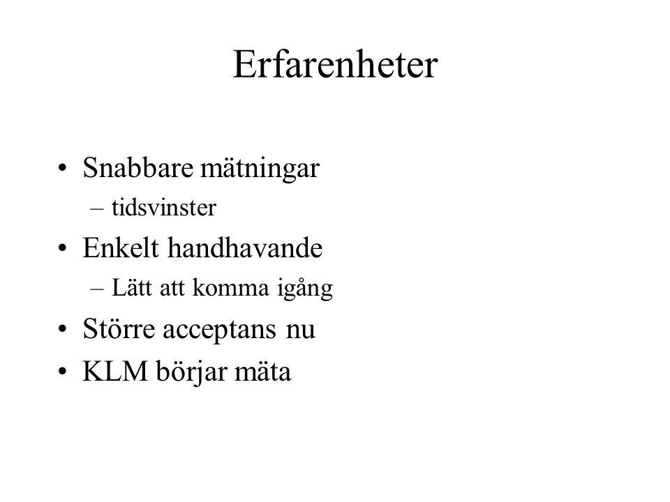 Erfarenheter Snabbare mätningar –tidsvinster Enkelt handhavande –Lätt att komma igång Större acceptans nu KLM börjar mäta