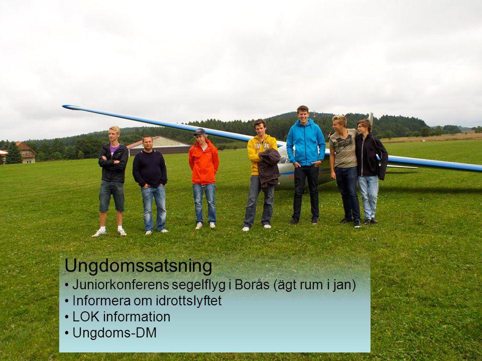 Ungdomssatsning Juniorkonferens segelflyg i Borås (ägt rum i jan) Informera om idrottslyftet LOK information Ungdoms-DM