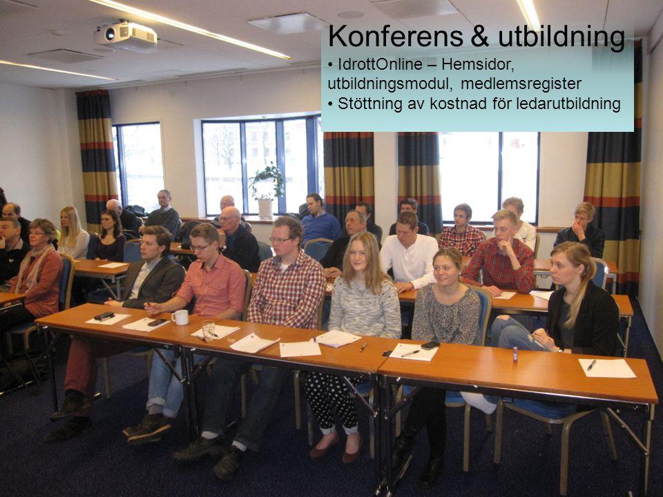 Konferens & utbildning IdrottOnline – Hemsidor, utbildningsmodul, medlemsregister Stöttning av kostnad för ledarutbildning