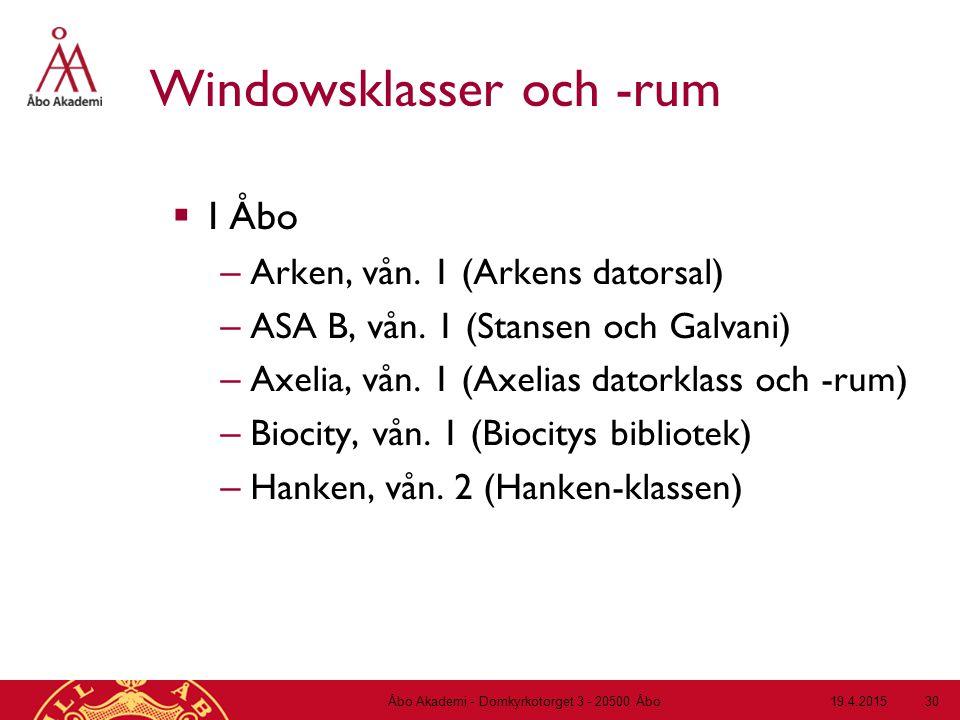 19.4.2015Åbo Akademi - Domkyrkotorget 3 - 20500 Åbo 30 Windowsklasser och -rum  I Åbo – Arken, vån. 1 (Arkens datorsal) – ASA B, vån. 1 (Stansen och