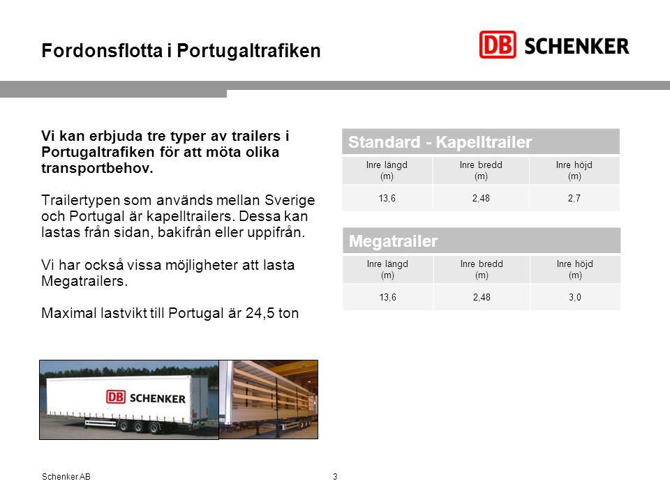 Fordonsflotta i Portugaltrafiken Vi kan erbjuda tre typer av trailers i Portugaltrafiken för att möta olika transportbehov.