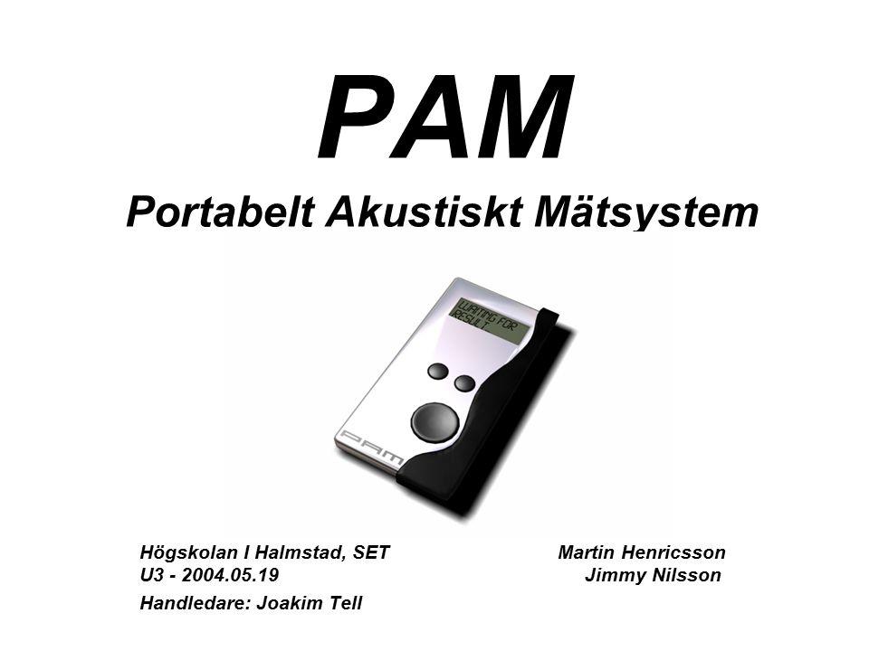 PAM Portabelt Akustiskt Mätsystem Högskolan I Halmstad, SET Martin Henricsson U3 - 2004.05.19 Jimmy Nilsson Handledare: Joakim Tell