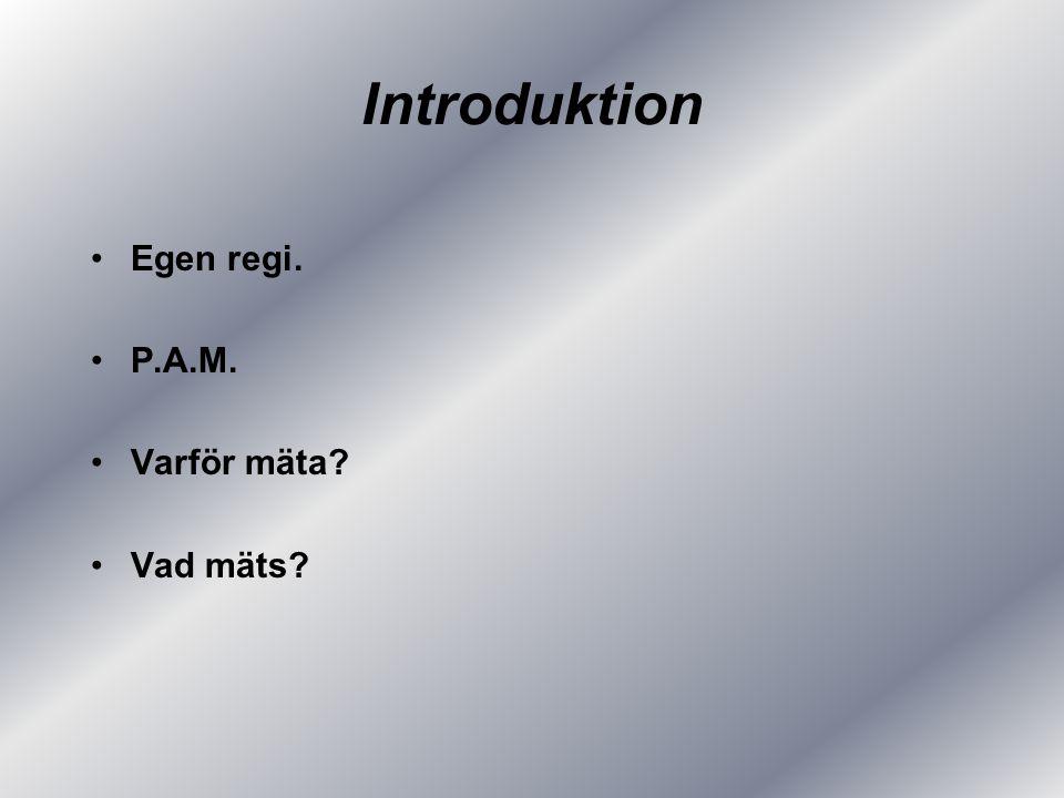 Introduktion Egen regi. P.A.M. Varför mäta Vad mäts