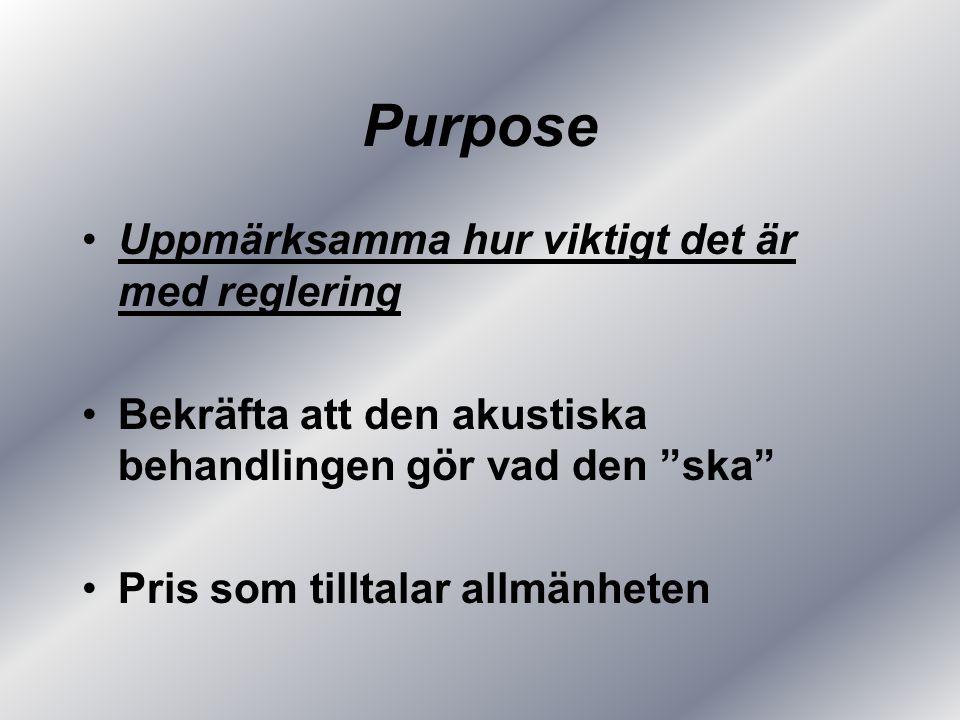 Purpose Uppmärksamma hur viktigt det är med reglering Bekräfta att den akustiska behandlingen gör vad den ska Pris som tilltalar allmänheten