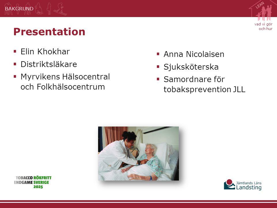 vad vi gör och hur  Elin Khokhar  Distriktsläkare  Myrvikens Hälsocentral och Folkhälsocentrum Presentation BAKGRUND  Anna Nicolaisen  Sjuksköter