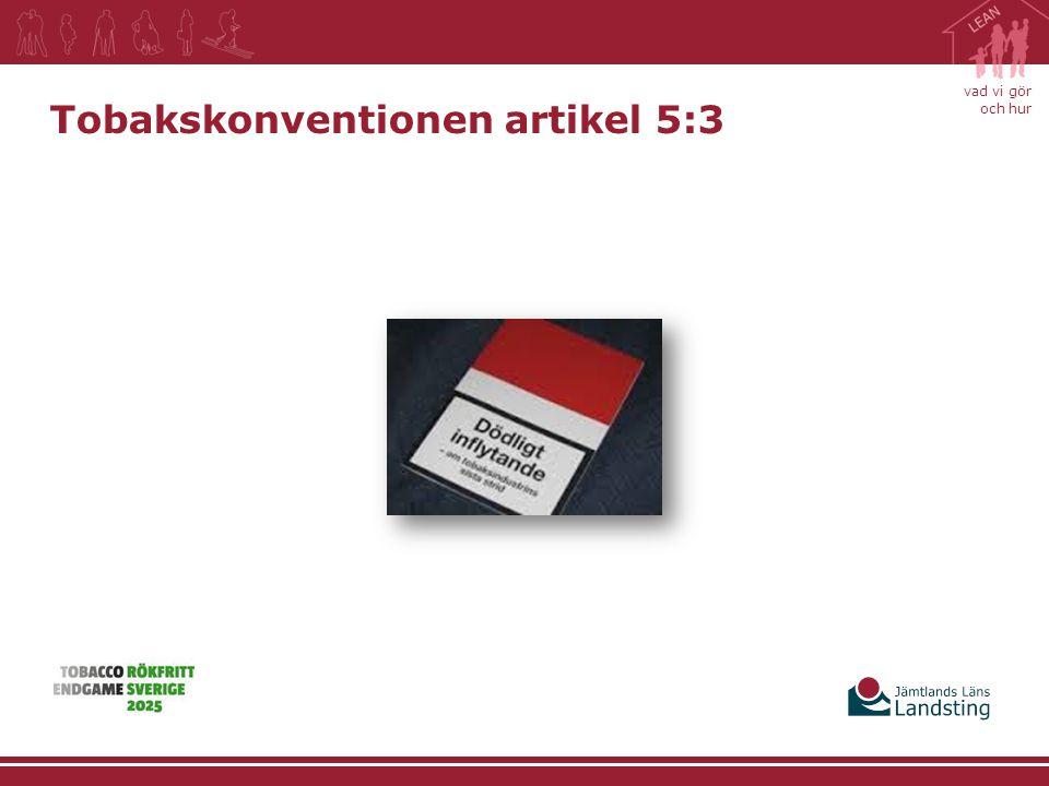 vad vi gör och hur Tobakskonventionen artikel 5:3