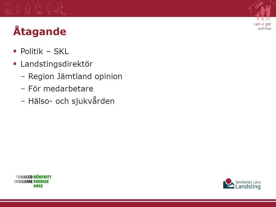 vad vi gör och hur Åtagande  Politik – SKL  Landstingsdirektör –Region Jämtland opinion –För medarbetare –Hälso- och sjukvården