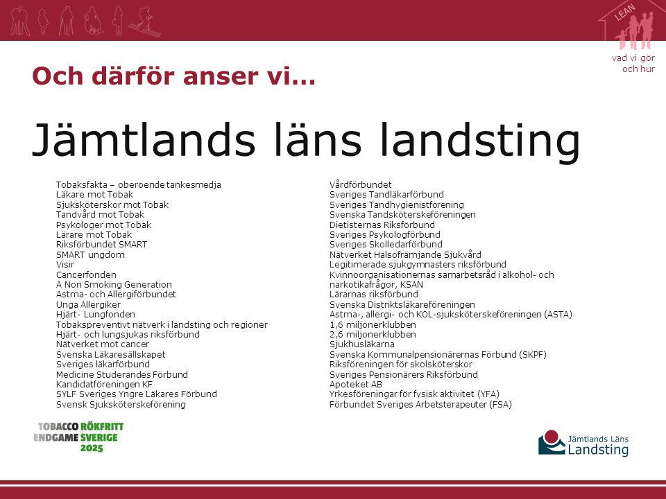 vad vi gör och hur Jämtlands läns landsting Och därför anser vi… Tobaksfakta – oberoende tankesmedja Läkare mot Tobak Sjuksköterskor mot Tobak Tandvår
